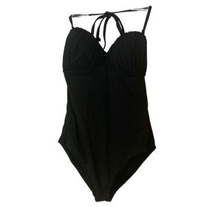 H&M Black One Piece Swimsuit With Ruched Top